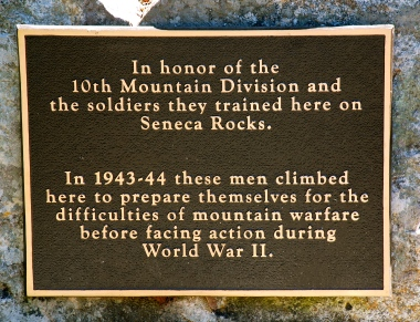 Seneca Rocks -10th Mountain Division, Tribute